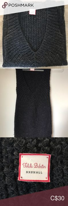 Aritzia Talula wool/alpaca sweater vest Size XXS Super cozy and stretchy long wool and alpaca blend sweater vest with deep V neck. So so soft!  Brand: Talula Babaton  Size: XXS but super stretchy. 10.5in pit to pit when not stretched. 28in from shoulder to hem. No sleeves.  Condition: Perfect pre owned condition. Talula Sweaters V-Necks Plus Fashion, Fashion Tips, Fashion Design, Fashion Trends, Gray Color, Sweaters For Women, Vest, Cozy, Shoulder