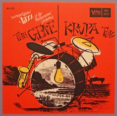 The Gene Krupa Trio, label: Verve MGV-8031 (1957)  design by David Stone Martin