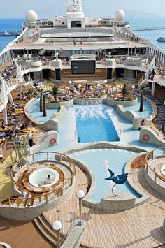 MSC Fantasia - Aqua Park aerial. Pool deck. #pool #msc #cruises