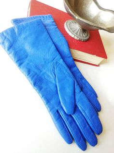 bright blue leather gloves!