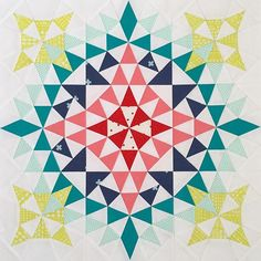 "I am working on my mini wall and this particular kaleidoscope design has been popping out in my inspiration folder that I finally decided to make it. The pattern is from a book by Joyce Giezler ""Then and Now Quilts"" it's 18"" square and this is my version of it. Now I need to decide how to quilt it and what fabric to use for my binding. #kaleidoscope #kaleidoscopemini #paperpiecing #inspiring #miniquilt"