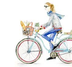 Let this cool cruiser girl brighten up your desktop, tablet, or phone. Illustration Girl, French Illustration, Bike Art, Art For Art Sake, Watercolor Paintings, Watercolor Artists, Cool Art, Art Drawings, Sketches