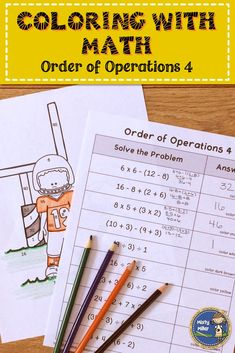 Order of Operations 4 Math Color Page Distance Learning Math Math Stations, Math Centers, Fifth Grade Math, Sixth Grade, Math Games, Math Activities, Line Math, Math Challenge, Math Graphic Organizers