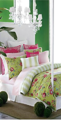 This is inspiration for toddler girl's room - I'm halfway done painting it a bold, bright green!