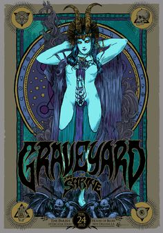 Swedish hard rock band Graveyard with The Shrine at the House of Blues, New Orleans, LA Feb Poster by Vance Kelly. Stoner Rock, Stoner Art, Alphonse Mucha, Rock Posters, Band Posters, Character Illustration, Illustration Art, Design Graphique, Psychedelic Art