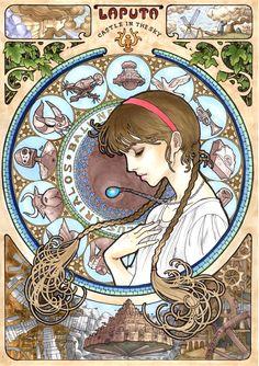 Les Studios GHIBLIS sur le devant de la scène en ce jour du Dimanche 10 Janvier 2016 (Partie 1) Quand le Studio Ghibli rencontre l'Art Nouveau, une superbe série des affiches des films de Hayao Miyazaki revisitées par un fan qui rend hommage à tous ces chefs-d'oeuvre de l'animation japonaise. On retrouve ainsi Totoro, Mononoke, Chihiro, Nausicaä, Kiki et les autres dans de magnifiques posters Art Nouveau imaginés par l'illustrateur japonais Marlboro
