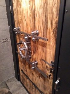 would love ❤️ to be able to lock my front door like this. I would love ❤️ to be able to lock my front door like this., I would love ❤️ to be able to lock my front door like this. Vault Doors, Gun Rooms, The Doors, Home Safety, Room Doors, Industrial Furniture, Vintage Industrial, Door Design, Home Projects