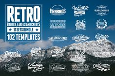 102 Retro Badges, Labels and Crests by Zeppelin Graphics on Creative Market