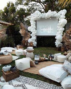 Backyard Movie Nights, Outdoor Movie Nights, Birthday Decorations, Wedding Decorations, Backyard Party Decorations, Halloween Decorations, Outdoor Dinner Parties, Backyard Parties, Backyard Birthday