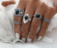 Cheap vintage ring set, Buy Quality ring set directly from China rings set for women Suppliers: Turkish Ring Vintage Ring Sets 5 PCS Antique Alloy Nature Black Stone Midi Finger Ring Set for Women Steampunk Anillos Drop Ship Boho Rings, Jewelry Rings, Jewlery, Craft Jewelry, Hand Jewelry, Jewelry Armoire, Jewelry Making, Black Rings, Silver Rings