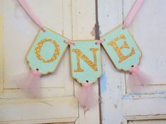 One Banner, Mint Pink and Gold Birthday Banner, Embossed Banner with Tulle, Girls Birthday Decoration, Cake Smash Banner, Happy 1st Birthday by PaperEtcStudio on Etsy