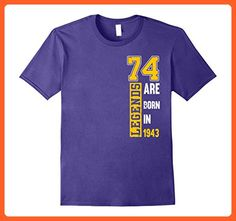 Mens Legends Born In 1943 Birthday Gift For 74 Years Old Yrs Large Purple - Birthday shirts (*Partner-Link)