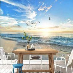 3D Sea Beach Scene and Seagulls Wallpaper Landscape Wall Mural