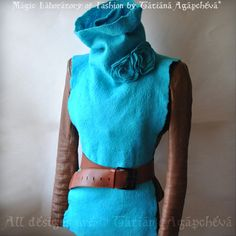 Poncho Cape Scarf Felted Cowl Silk Merino Roses Brooch by TianaCHE, $170.00