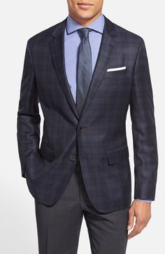 BOSS 'Hutch' Trim Fit Plaid Wool Sport Coat available at #Nordstrom