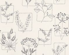 Herbes Line (0271HRLINEZ) - Little Greene Wallpapers - Inspired by a 1955 classic motif design, with floral sketches, set on coloured tiles – the perfect 50's diner paper.  Shown in Line, the fresh black on white colourway. Available in other colours. Please request sample for true colour match.