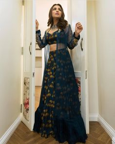 Take cues on how to do Indian wear right from Parineeti Chopra. Lehenga Choli Designs, Ghagra Choli, Indian Attire, Indian Wear, Indian Outfits, Stylish Dresses, Fashion Dresses, Lehnga Dress, Indian Gowns Dresses