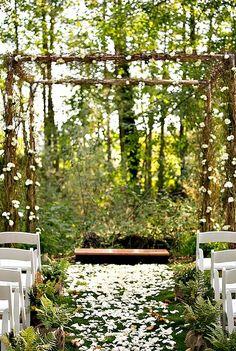 forest wedding Outside wedding idea. Wedding Ceremony Ideas, Wedding Aisle Decorations, Outdoor Ceremony, Wedding Venues, Wedding Arches, Wedding Altars, Wedding Officiant, Reception, Outside Wedding