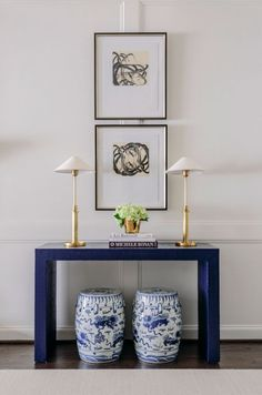 Blue and White Garden Stools under console table