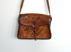 SOLD / #Vintage 1970s Boho / Hippie Floral Tooled Leather Purse / Crossbody Bag by VelouriaVintage, $26.00
