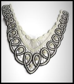 Faux col applique dentelle brodée noire et blanche, perles - mercerie - couture - tricot - embellissement - customisation.- cérémonie - mariage.