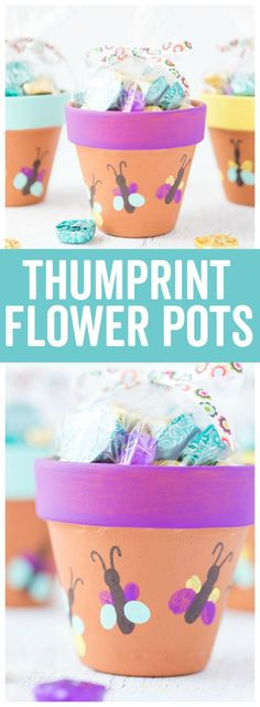 Thumbprint Butterfly Flower Pots: a fun and simple craft idea the kids will love! It makes a great keepsake idea for Mothers Day #craftsforkids #crafts #diy #diyproject #kidscrafts #artsandcrafts #mothersdaygift