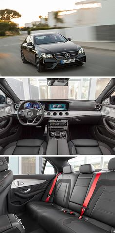 The interior reinforces the dynamic calibre of the new Mercedes-AMG E 43 4MATIC with numerous individual details like the red seat belts and the steering wheel in black nappa leather with red contrasting topstitching. [Combined fuel consumption 8.4–8.2 l/100 km | combined CO2 emission 192–187 g/km | http://mb4.me/efficiency_statement]