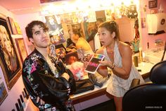 Darren Criss and Jenna Ushkowitz (costars on the TV show 'GLEE') pose backstage at the hit musical 'Hedwig and The Angry Inch' on Broadway at The Belasco Theater on June 10, 2015 in New York City.