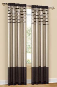 """With Love Home Decor - Twin Pack CITY SCAPE Mocha Rod Pocket Curtain Panels 80""""x84"""","""