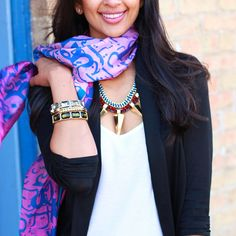 Statement Necklace by Milk and Honey Boutique, Scarf by Heritage S