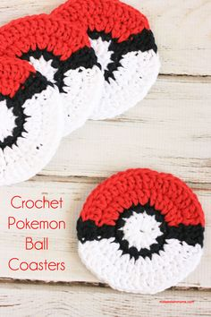 Free Crochet Pokemon Ball Coaster Pattern! Perfect idea for the Pokemon Fan!