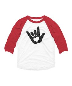 White & Red Signed with Love Raglan Tee - Toddler & Kids