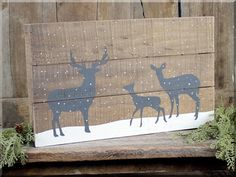 The Country Village Shoppe features Snowfall deer pallet sign from Honey & Me. Wooden Pallet Projects, Pallet Art, Pallet Ideas, Pallet Wood, Diy Wood, Pallet Painting, Wood Ideas, Pallet Designs, Sign Painting