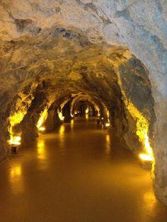 Through cave to hotel beach, Atahotel Capotaormina, Taormina Sicily, Italy, province of Messina
