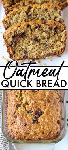 Oatmeal Quick Bread filled with chocolate chips takes less than an hour to whip up. You don't need a mixer or yeast for this easy and delicious sweet bread. Chocolate Chip Bread, Chocolate Chip Oatmeal, Chocolate Recipes, Cake Chocolate, Easy No Bake Desserts, Delicious Desserts, Dessert Recipes, Healthy Desserts, Oatmeal Bread Recipe