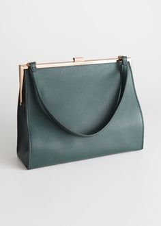 4702db2300f8 Grainy Leather Frame Handbag - Green - Clutches - & Other Stories. Green  ClutchesTote HandbagsGreen ...