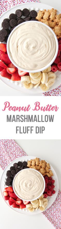 This 4 Ingredient Peanut Butter Marshmallow Fluff Dip is a delicious and easy dessert! Serve it with fresh fruit, cake and mini cookies! via @prettysuburbs