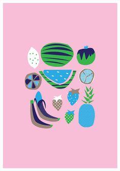 Retro Fruit Art Print. Digital illustration. 4 by HelloPants