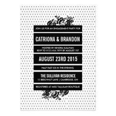 Black & White Color Blocking Engagement Invitation #engagement #wedding #tropicalpapers