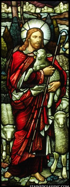 """Christ the Good Shephard"" Religious Stained Glass Window Stained Glass Church, Stained Glass Paint, Stained Glass Windows, Good Shepard, The Good Shepherd, Jesus Christ Images, Jesus Art, Religious Pictures, Jesus Pictures"