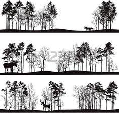 chevreuil dessin: ensemble de paysages différents avec des pins et des animaux sauvages, des silhouettes de la forêt avec des cerfs, wapitis, le renard, tiré par la main illustration vectorielle Illustration