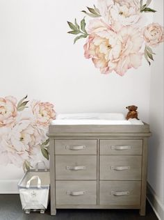 Peony Flowers Wall Sticker, Watercolor Peony Wall Stickers - Peel and Stick Removable Stickers