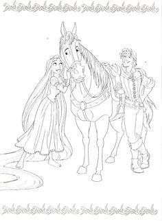 Tangled Coloring Pages, Disney Princess Coloring Pages, Disney Princess Colors, Fairy Coloring Pages, Adult Coloring Pages, Coloring Sheets, Coloring Books, Disney Rapunzel, Horse Crafts