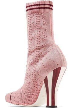 Fendi | Metallic stretch-knit sock boots | NET-A-PORTER.COM
