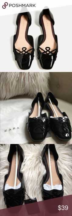 Zara d'orsay flat shoes This is 6 but it fits me a 61/2. New ;;; Never been worn;;;  Price is firm Zara Shoes Flats & Loafers