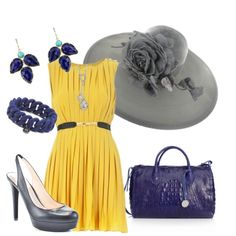 Kentucky Derby Look - Canary & Cerulean, created by macapplechick
