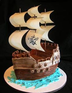 Pirate Ship Cake: I used 3 boxes of cake mix. I baked each of them in a 9 x 13 inch pan. I drew the basic shape of a ship on a piece of paper, put it on the cooled cakes,