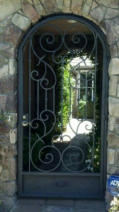 Iron gate powder coated black in Rancho San Diego. Iron gate powder coated black in Rancho San Diego. Wrought Iron Gate Designs, Wrought Iron Garden Gates, Metal Gates, Wrought Iron Doors, Side Gates, Front Gates, Entrance Gates, Iron Front Door, Courtyard Entry