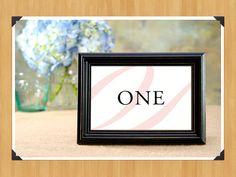 Printable Blush Pink and Black Table Numbers 1-20 for Weddings or Showers, Cursive, Elegant, DIY
