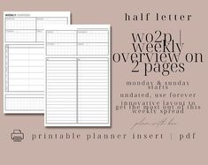 Printable Planner Inserts by PlanWithBeellc on Etsy